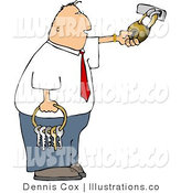 Royalty Free Stock Illustration of a Businessperson Man Holding a Ring of Keys and Unlocking a Padlock by Djart