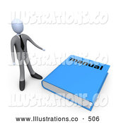 Royalty Free Stock Illustration of a Businessperson Standing Beside a Giant Blue Manual by 3poD