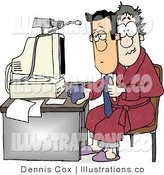 Royalty Free Stock Illustration of a Businessperson Working at His Home Office Today by Djart