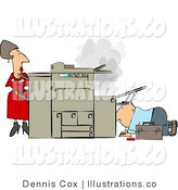 Royalty Free Stock Illustration of a Businesswoman Watching a Repairman Fix Her Broken Photocopy Machine with Her Arms Impatiently Crossed by Djart