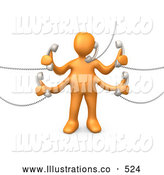 Royalty Free Stock Illustration of a Busy Orange Person Handling Five Different Telephone Conversations While Multi Tasking at Work by 3poD