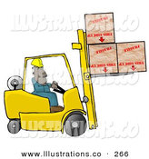 Royalty Free Stock Illustration of a Care Free Forklift Driver Delivering Fragile Boxes Upside down by Djart
