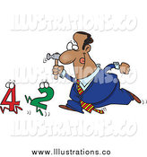 Royalty Free Stock Illustration of a Cartoon Black Businessman Crunching Numbers with a Hammer by Toonaday