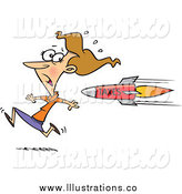 March 4th, 2014: Royalty Free Stock Illustration of a Cartoon Business Woman Being Chased with a Tax Rocket by Toonaday