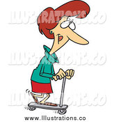 Royalty Free Stock Illustration of a Cartoon Caucasian Woman Riding a Scooter by Toonaday