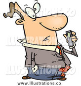 Royalty Free Stock Illustration of a Cartoon Man Holding a Dictaphone Recorder by Toonaday
