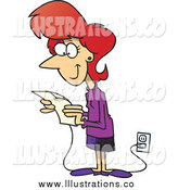 Royalty Free Stock Illustration of a Cartoon Red Haired White Businesswoman Reading Her Email by Toonaday