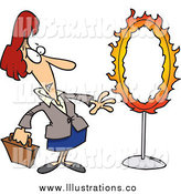Royalty Free Stock Illustration of a Cartoon Red Haired White Businesswoman Standing by a Flaming Hoop by Toonaday