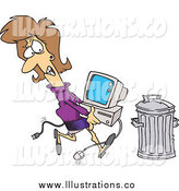 Royalty Free Stock Illustration of a Cartoon White Businesswoman Throwing Away a Broken Computer by Toonaday