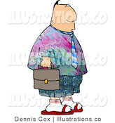 Royalty Free Stock Illustration of a Casual Friday Businessman Wearing Colorful Hippie Clothing to His Work by Djart