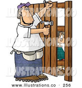 Royalty Free Stock Illustration of a Caucasian Boy Watching a Man Build a Wooden Fence by Djart