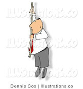 Royalty Free Stock Illustration of a Caucasian Businessman Hanging by a Rope - Concept by Djart