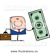 Royalty Free Stock Illustration of a Caucasian Businessman Holding a Giant Dollar Bill by Hit Toon