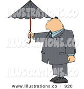 Royalty Free Stock Illustration of a Caucasian Businessman Standing Outside Under an Umbrella in Rainy Weather by Djart