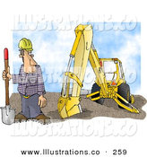 Royalty Free Stock Illustration of a Caucasian Construction Worker Standing Beside an Excavator with a Shovel by Djart
