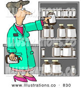 Royalty Free Stock Illustration of a Caucasian Female Pharmacist Restocking the Shelves with Bottles of Medicine and Drugs by Djart