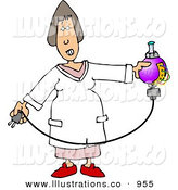 Royalty Free Stock Illustration of a Caucasian Female Scientist Testing Chemicals in a Labratory by Djart