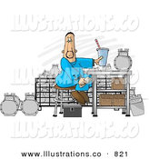 Royalty Free Stock Illustration of a Caucasian Gas Meter Repairman Sitting in His Shop Eating Lunch by Dennis Cox