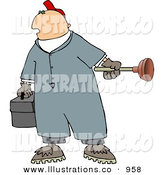 Royalty Free Stock Illustration of a Caucasian Heavyset Plumber Man Holding a Toolbox and Toilet Plunger by Djart