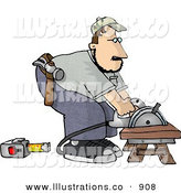 Royalty Free Stock Illustration of a Caucasian Male Carpenter Cutting Wood on a Sawhorse by Djart