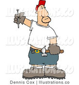 Royalty Free Stock Illustration of a Caucasian Male Carpenter with a Hammer and Nail in His Gloved Hands by Djart