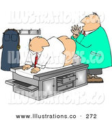 Royalty Free Stock Illustration of a Caucasian Male Doctor Giving Patient His First Prostate Examination - Humorous Medical ClipartCaucasian Male Doctor Giving Patient His First Prostate Examination - Humorous Medical Clipart by Djart