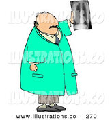 Royalty Free Stock Illustration of a Caucasian Male Doctor Looking at X-ray of Human Spine by Djart