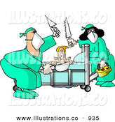 Royalty Free Stock Illustration of a Caucasian Male Patient Getting Some of His Limbs Amputated by Doctors at a Hospital by Djart