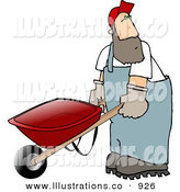 Royalty Free Stock Illustration of a Caucasian Man Pushing an Empty Wheelbarrow to the Right by Djart
