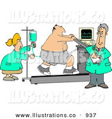 Royalty Free Stock Illustration of a Caucasian Obese Patient Hooked up to Medical Machines While Running on a Treadmill and Being Cared for by Doctors & Nurses by Djart