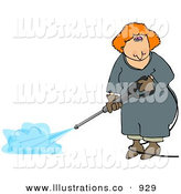 Royalty Free Stock Illustration of a Caucasian Red Haired Woman Using a Pressure Washer by Djart