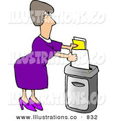 Royalty Free Stock Illustration of a Caucasian Secretary Woman Feeding a Paper Shredder Confidential Documents by Djart