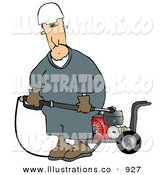 Royalty Free Stock Illustration of a Caucasian Worker Man with a Heavy Duty High Performance Gas Powered Water Pressure Washer by Djart