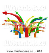 Royalty Free Stock Illustration of a Chaotic Mess of Bright Colorful Arrows Going in Multiple Directions Symbolizing Confusion or Traffic by 3poD
