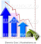 Royalty Free Stock Illustration of a Chart or Graph Showing a Decline in Profits over Time by Djart