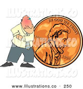 Royalty Free Stock Illustration of a Cheapskate Businessman Pushing a Copper Penny out the Door by Djart