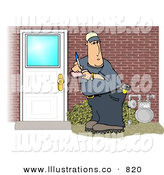Royalty Free Stock Illustration of a Cheerful Meter Man Collecting Natural Gas Usages from Residential Houses by Dennis Cox