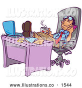 Royalty Free Stock Illustration of a Chill, Relaxed Businessman Leaning Back in His Chair with His Feet up by His Laptop Computer on His Desk, Holding a Cup of Hot Coffee and Chatting on the Phone by Tonis Pan