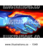 Royalty Free Stock Illustration of a Chilly Cold Blue Ice Hand and a Red Hot Hand Gripped in a Handshake by Tonis Pan