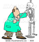 Royalty Free Stock Illustration of a Chiropractor Man Practicing Procedures on a Skeleton by Djart