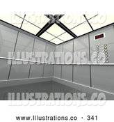 Royalty Free Stock Illustration of a Chrome Futuristic Office Elevator by 3poD