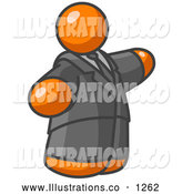Royalty Free Stock Illustration of a Chubby Orange Business Man in a Suit and Tie by Leo Blanchette