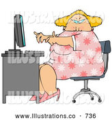 Royalty Free Stock Illustration of a Chubby Overweight Blond Secretary Woman Working at a Computer Desk in an Office by Djart