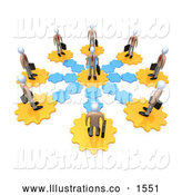 Royalty Free Stock Illustration of a Circle of Professional Employees on Gears, All Connecting to the Middle Man by 3poD