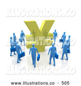 Royalty Free Stock Illustration of a Circling Group of Blue Businesspeople Surrounding a Giant Golden Yen Symbol by 3poD