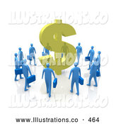 Royalty Free Stock Illustration of a Circling Group of Greedy Blue Businessmen Surrounding a Giant Golden Dollar Symbol by 3poD