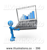 November 11th, 2013: Royalty Free Stock Illustration of a Clever Blue Person Holding a Laptop Computer with a Bar Graph on the Screen by 3poD