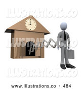 Royalty Free Stock Illustration of a Clock Man on a New Work Day, Punctuality by 3poD