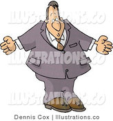 Royalty Free Stock Illustration of a Clueless Businessman Man Shrugging His Shoulders by Djart
