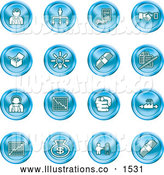 Royalty Free Stock Illustration of a Collection of Blue Coin Shaped Business Icons of Business People, Management, Hand Shake, Lightbulb, Cash, Charts, and Money Bags by AtStockIllustration